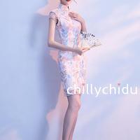 チャイナドレス ミニ丈 刺繍 タイト レース ピンク