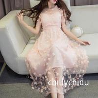 ワンピース ドレス ロング 半袖 花モチーフ チュール ピンク