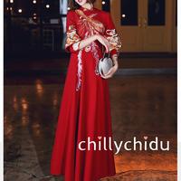 チャイナドレス風ワンピ ロング丈 刺繍 フレア ボルドー