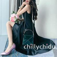 ドレス オープンバック フィッシュテール ミディアム丈 黒