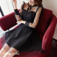 ワンピース ドレス メッシュ 水玉 フリルトリム フレア ミニ 黒