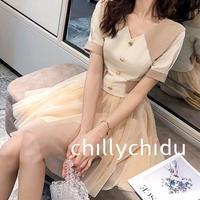 ワンピース ドレス フレア 重ね着風 バイカラー メッシュスカート ミニ