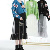 マタニティー セットアップ  花柄 カーディガン ティアードワンピース 3色
