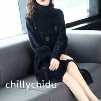 ニットワンピース ミニ丈 ビショップ袖 雪の結晶 裾フレア 黒