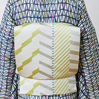 【5-9きもの】博多織八寸名古屋帯 エレクトリックライン オフ白