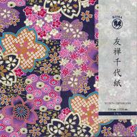 京染友禅千代紙 15㎝ 同柄5枚入 市松大桜 紫