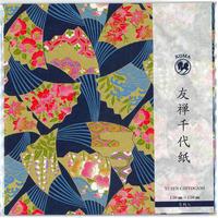京染友禅千代紙 15㎝ 同柄5枚入 扇子 青