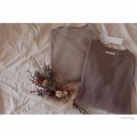 リブニットセーター/ライトブラウン