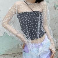 シースルーフラワーTシャツ
