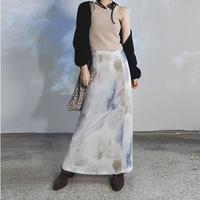 水捺染ニットロングスカート