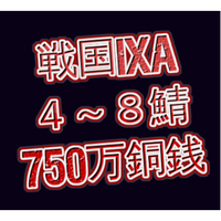 戦国ixa  4~8鯖  750万銅銭(一括もしくは分割対応)