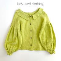 【used110-120cm】yellow green gauze blouse
