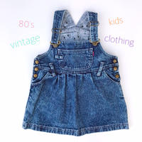 【vintage95-100cm】80's denim jumper skirt