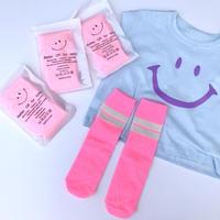 【free size】neon pink socks
