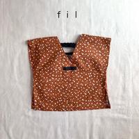 fil【SS/85〜100cm】テラコッタ×ドットtops