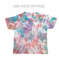 【vintage約120-130cm】緑ピンク紫タイダイt-shirts