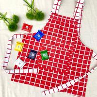 JurianKinder *red check apron【jk173】
