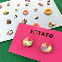 POTATO 刺繍イヤリング no.06