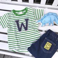 【90㎝】Wパッチ ボーダー Tシャツ