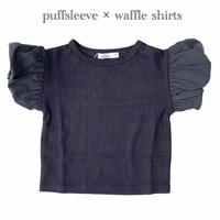 【90,100cm】puffsleeve waffle t-shirt