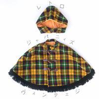 【vintage約90-100cm】チェックポンチョ帽子付き