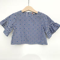 【USED100cm】check&dot blouse