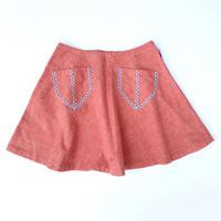 【vintage約110cm】朱色サーキュラースカート