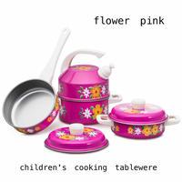 children's cooking tablewere「flower pink」