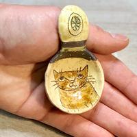 コーヒースプーン 茶猫 水玉