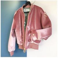 ベロア素材ブルゾン・ピンク