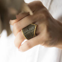 Leather & Beads ring khaki vol.1