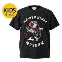 猫忍者キッズTシャツ (ヘザーブラック)