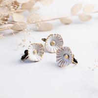 白小花イヤリングセット