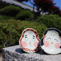 おかめ 縁起ミニ飾り皿(皿立て付き)