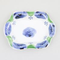 染錦梅紋 木瓜豆皿