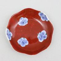 染錦梅ちらし 輪花豆皿