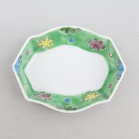 グリーン花ちらし 亀甲豆皿