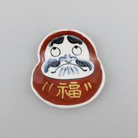 だるま(赤) 縁起ミニ飾り皿(皿立て付き)