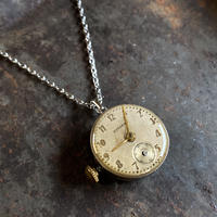 antique dial&movement reversible necklace 【K0571】