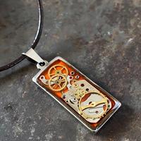 【STYLES】CLOPOA  square necklace orange【K0471】