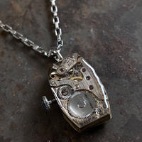 antique square dial&movement reversible necklace【K0533】