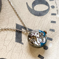 antique dial&movement colors reversible necklace skyblue