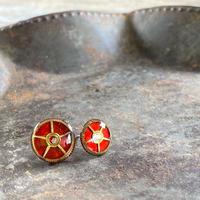 coloring gear pierced earrings red