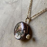 【new】antique dial&copper movement  reversible necklace【K0575】