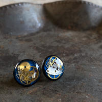 CLOPOA BLACK standard pierced earrings blue【K0569】