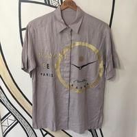 【個性的】ヴィンテージ 時計柄 日本製 レーヨン柄シャツ