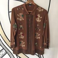 【一点物】レトロ デザイン ブラウン 柄シャツ