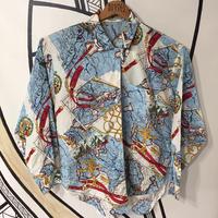 日本製 アンティークマップチェーン柄シャツ