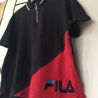 【90s】ヴィンテージ FILA デカロゴ パイル ブラック ポロシャツ