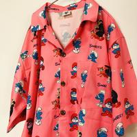 【総柄】スマーフピンク柄シャツ